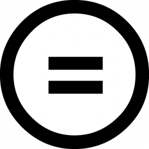 An equal sign within a white circle with a black border. This represents the No Derivatives CC license.