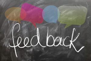 The word feedback written on blackboard