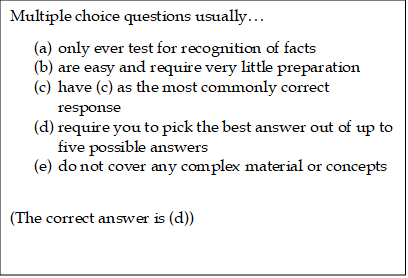 An example of a simple form of a multiple choice question