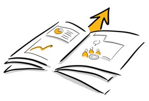 Arrow coming out of an open book with chart table and graphics