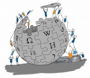 little people adding puzzle pieces to wikipedia logo