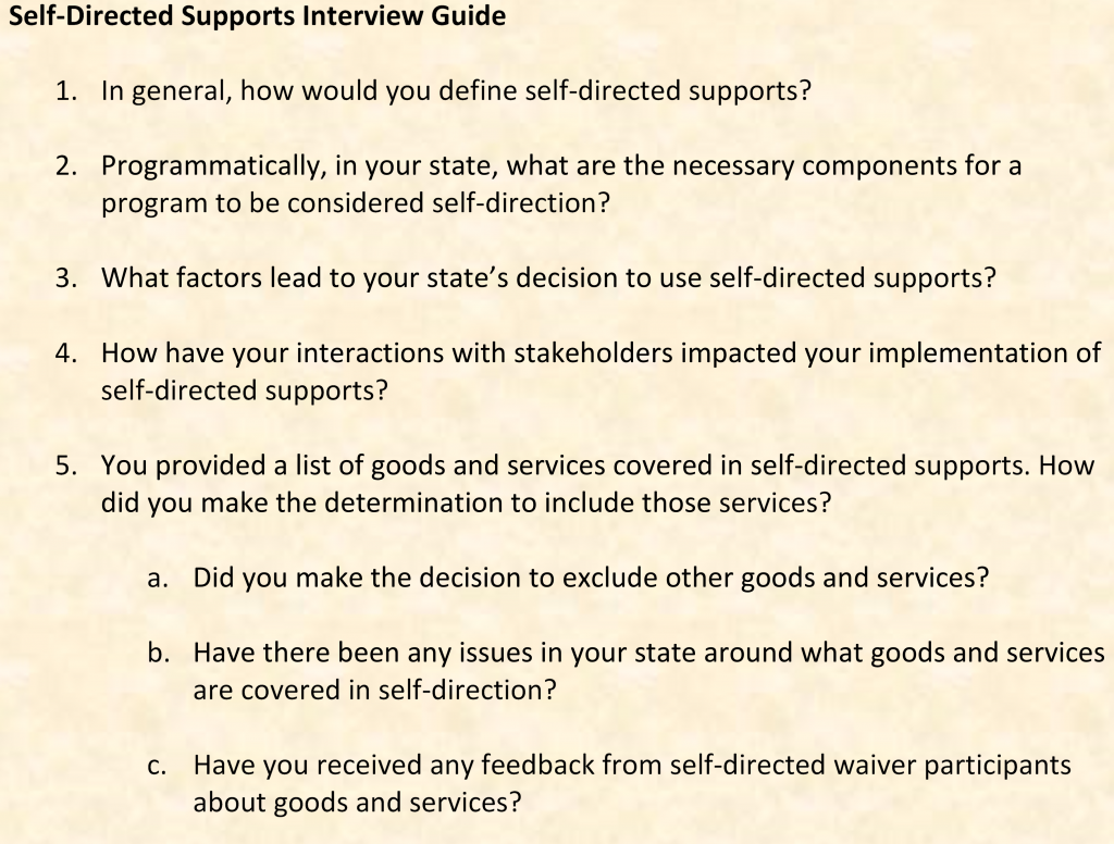 interview guide using questions rather than topic