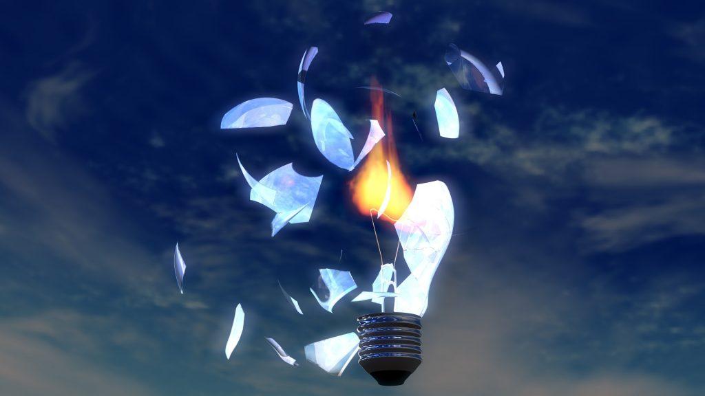 light bulb shattered
