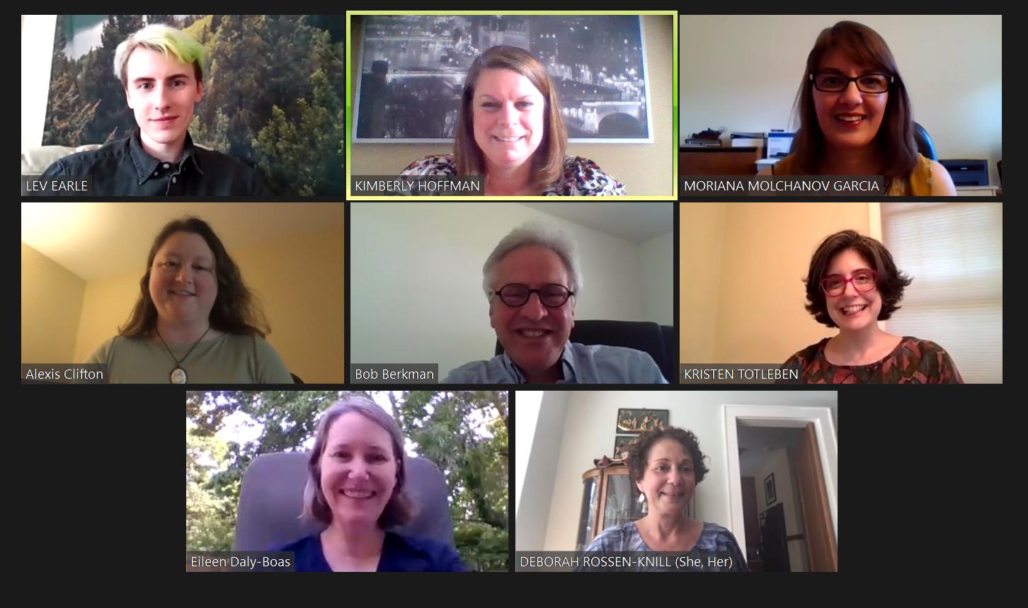 Zoom screenshot of Lev, Kimberly, Moriana, Alexis, Robert, Kristen, Eileen, and Deborah