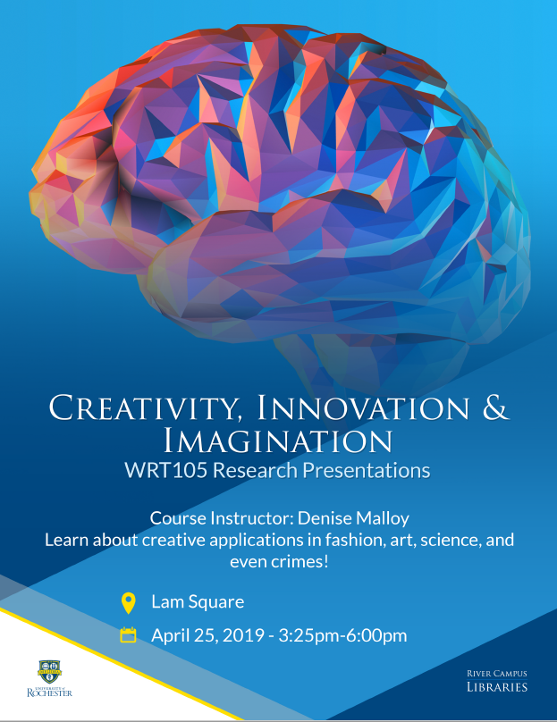 Artistic rendering of brain above text: Creativity, Innovation & Imagination. WRT105 Research Presentations