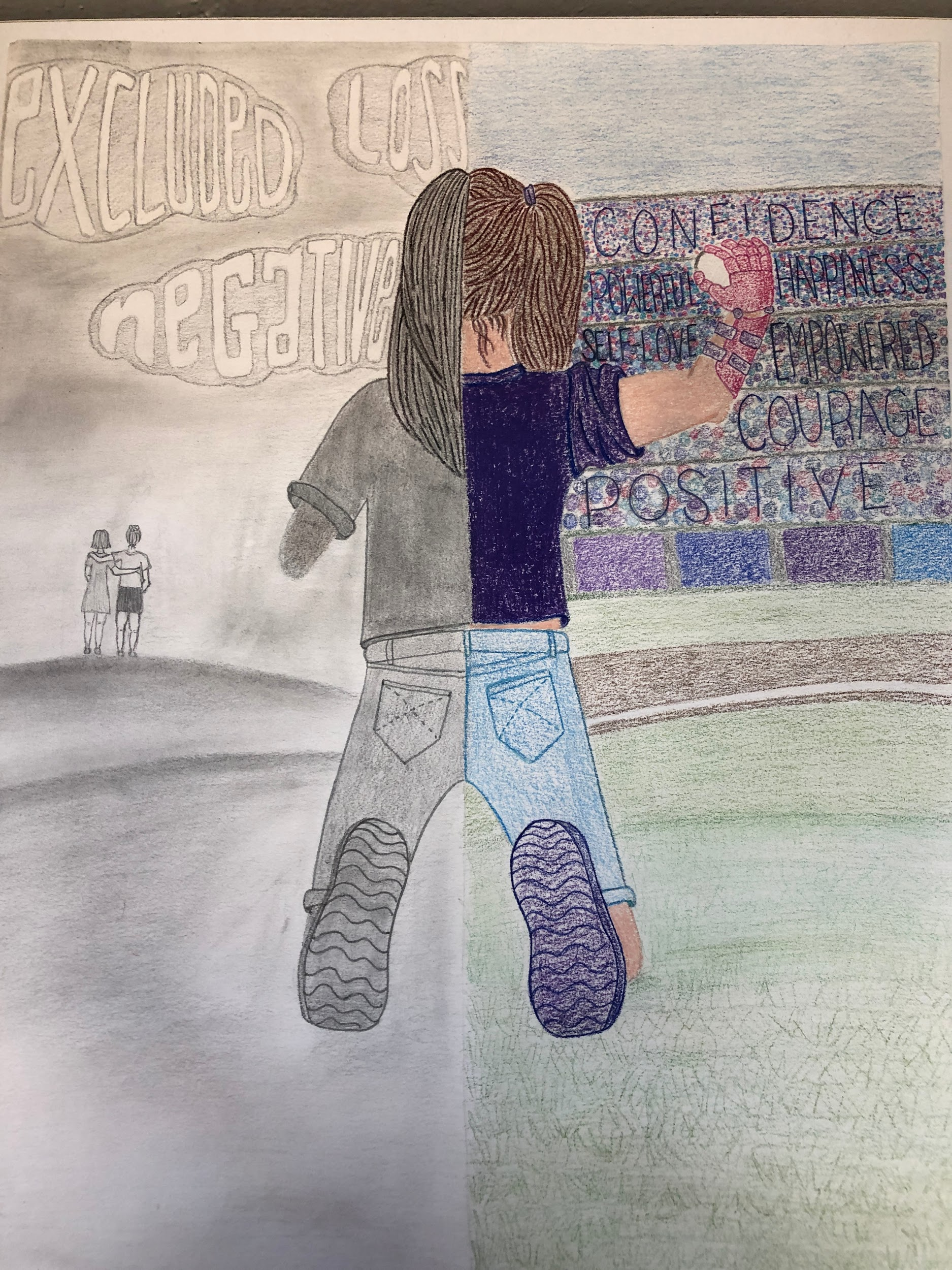 drawing of girl from back, kneeling, missing both arms at the elbows. Left, in gray, shows without prosthetic; right, in full color, shows with prosthetic