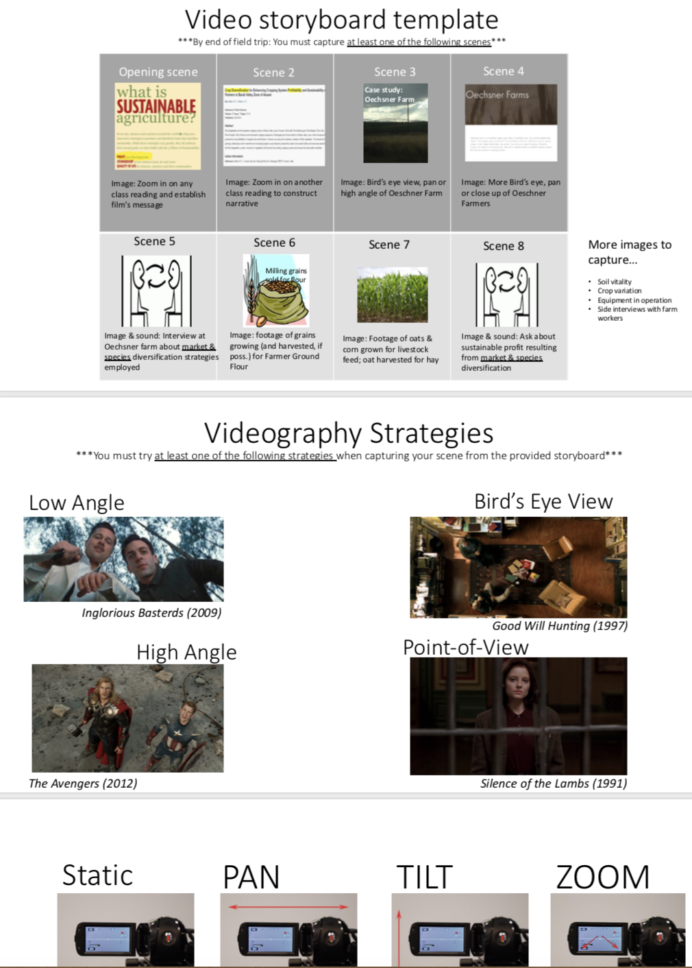 Video storyboard template, with 8 panels. Videography strategies, with examples of camera angles. Ways to hold the camera.