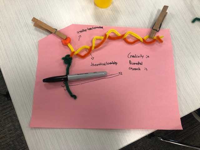 construction paper with pipe cleaners, and clothespins attached. Handwriting reads Creativity in Biomedical research